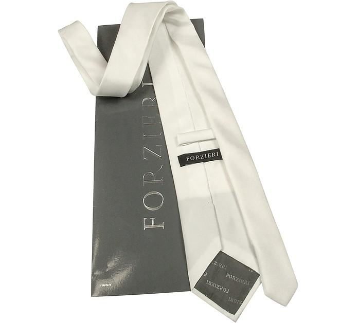 Cravatta Extra-Long in Seta Bianca Forzieri B08E45