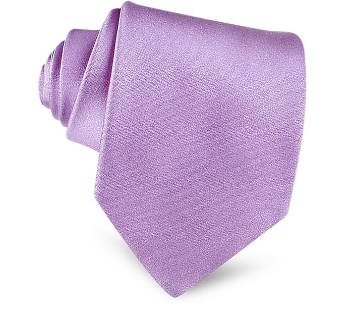 Extra lange Einfarbige Seidenkrawatte in violett - Forzieri