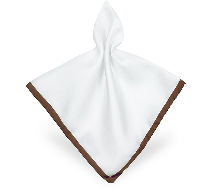 Framed Solid White Silk Pocket Square - Forzieri