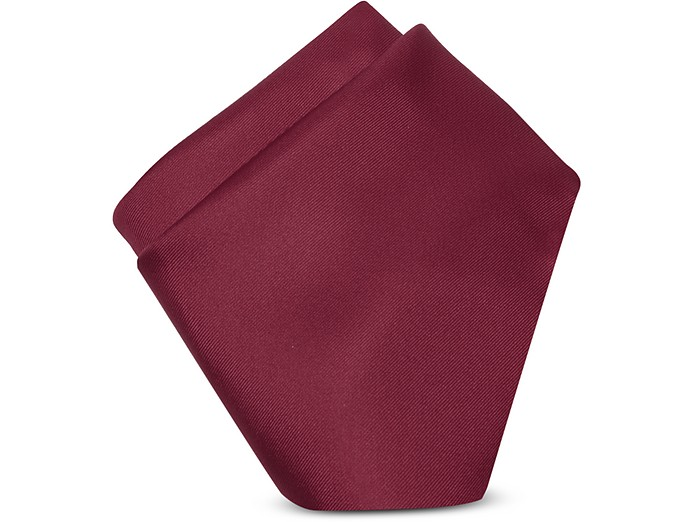 Cranberry Silk Pocket Square - Forzieri