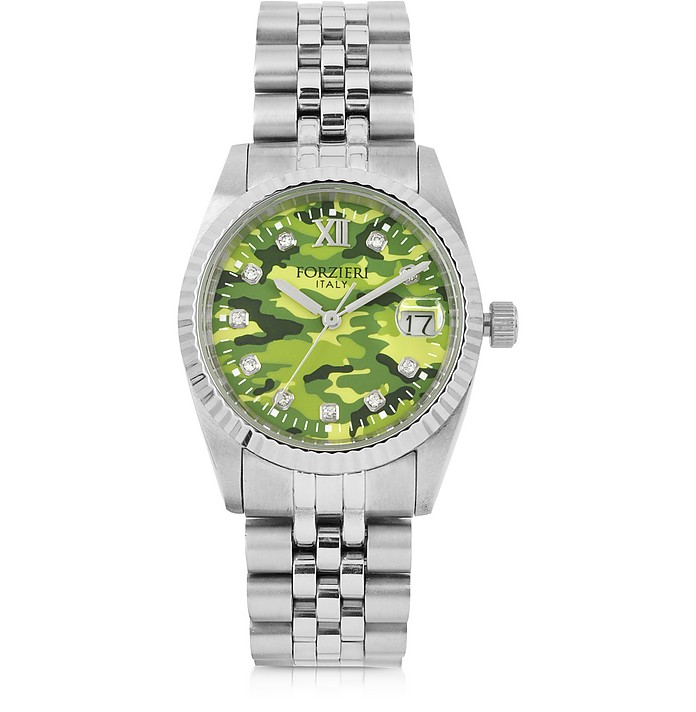 Trevi Silver Tone Stainless Steel Women's Watch w/Green Camo Dial - Forzieri / フォルツィエリ