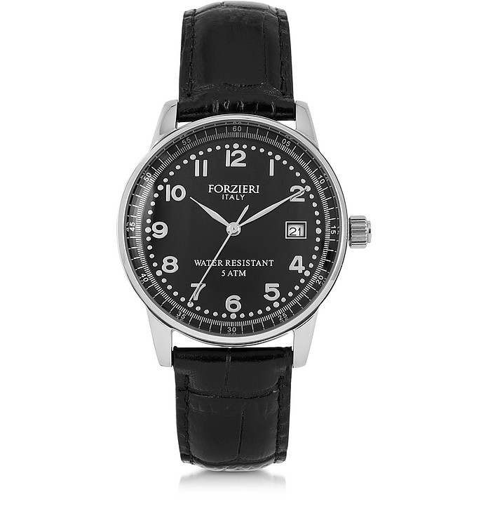 DISCOVERY LADY 银色调不锈钢表壳和真皮表带女士手表 - Forzieri 福喜利