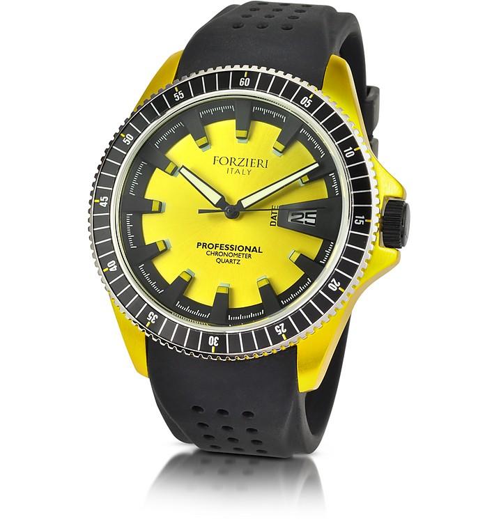 Yellow Aluminum Case Watch w/Rubber Strap - Forzieri