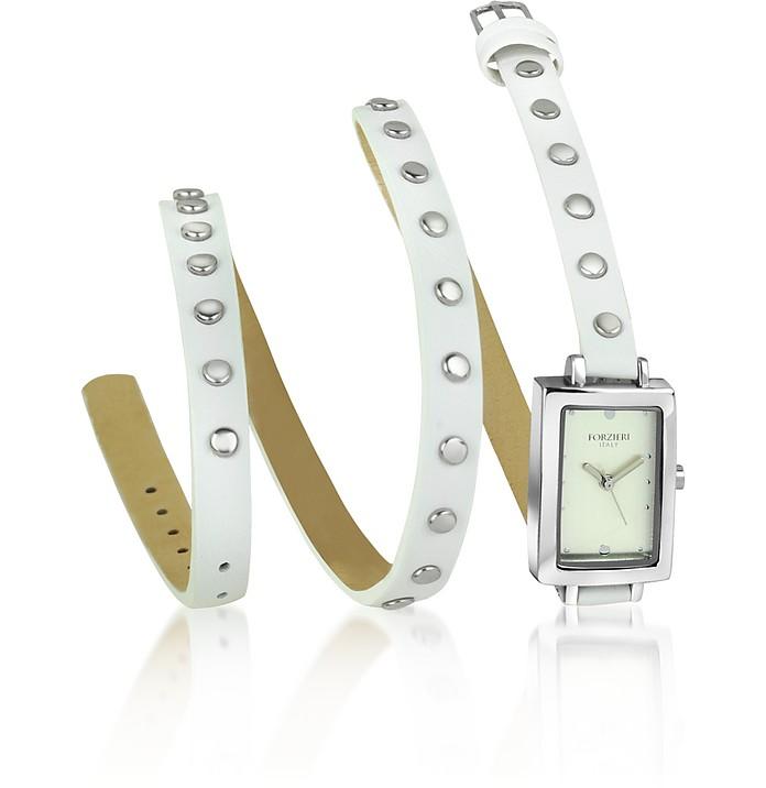 Nina - White Leather Wrap Bracelet Watch - Forzieri