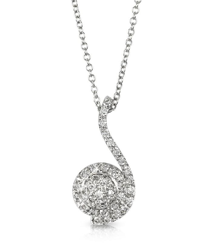 0.34 ctw Diamond Pave 18K White Gold Pendant Necklace - Forzieri