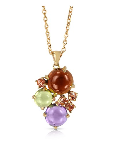 Gemstones 18K Rose Gold Pendant Necklace - Mia & Beverly