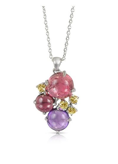 Gemstones 18K White Gold Pendant Necklace - Mia & Beverly