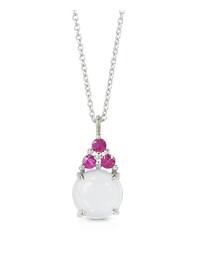 Chalcedony and Pink Sapphires 18K White Gold Pendant Necklace - Mia & Beverly
