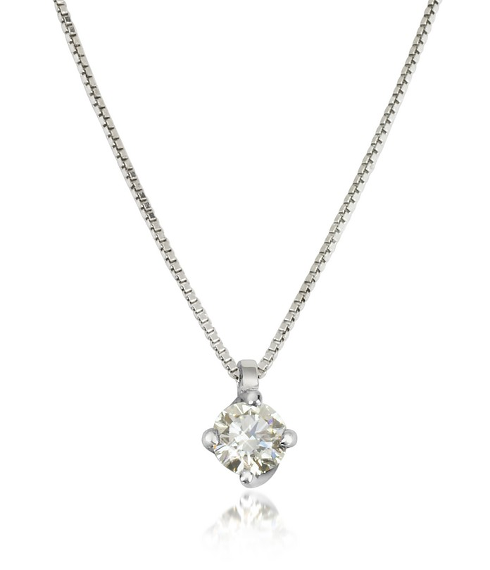 0.23 ctw Diamond Flower Pendant 18K White Gold Necklace - Forzieri