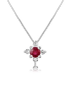 Diamond and Ruby Flower 18K Gold Pendant Necklace - Incanto Royale