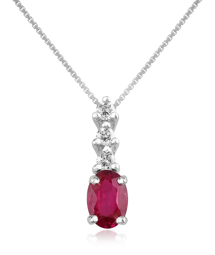 Diamond and Ruby Drop 18K Gold Pendant Necklace - Incanto Royale