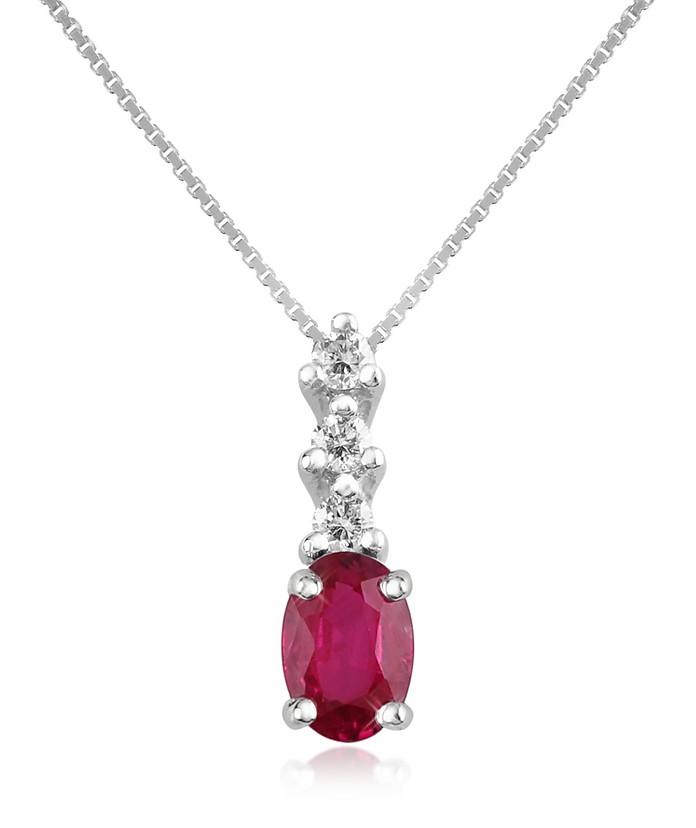 钻石和红宝石吊式18K金吊坠项链 - Incanto Royale