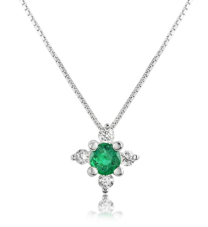 Diamond and Emerald Flower 18K Gold Pendant Necklace - Incanto Royale