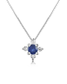 Diamond and Sapphire Flower 18K Gold Pendant Necklace - Incanto Royale