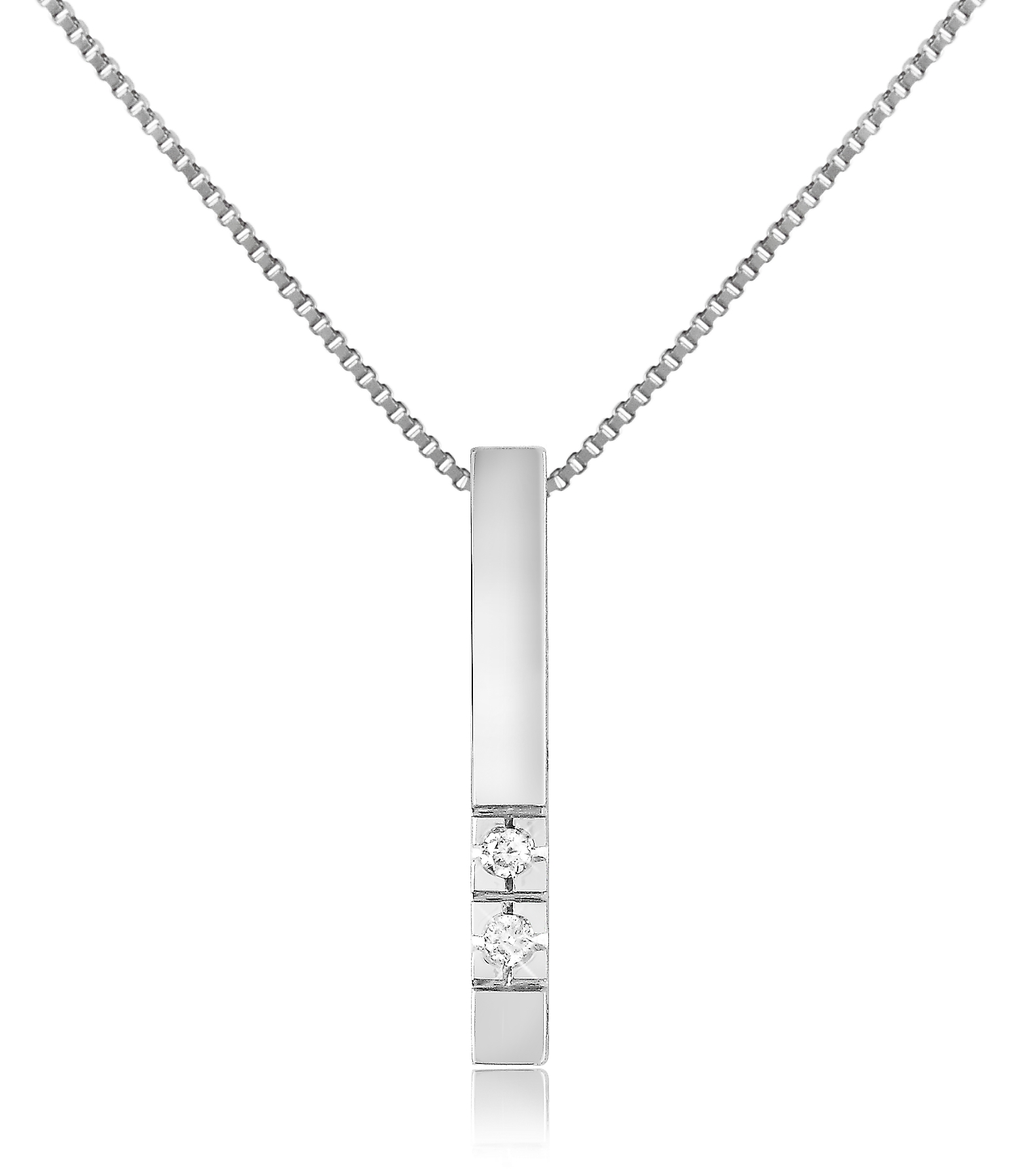 0.02 ct Diamond Bar Pendant Necklace