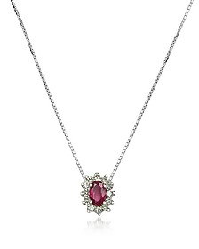 Diamond and Ruby Drop 18K Gold Necklace - Incanto Royale