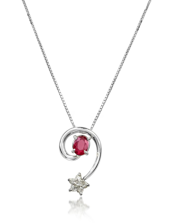 Ruby and Diamond Star 18K Gold Pendant Necklace - Incanto Royale