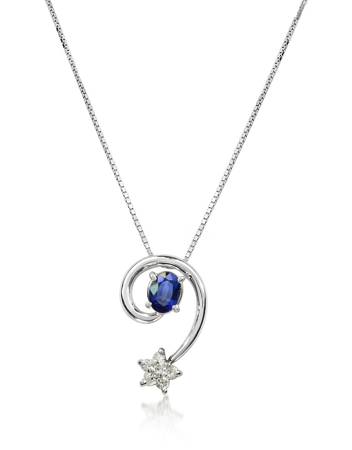 Sapphires and Diamond Star 18K Gold Pendant Necklace - Incanto Royale