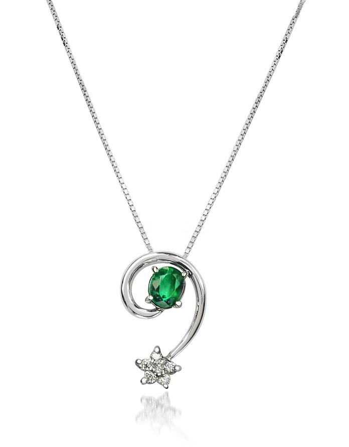 Emerald and Diamond Star 18K Gold Pendant Necklace - Incanto Royale