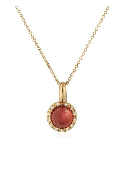 Collar de Oro Rosa de 18K con Granate y Diamantes - Mia & Beverly