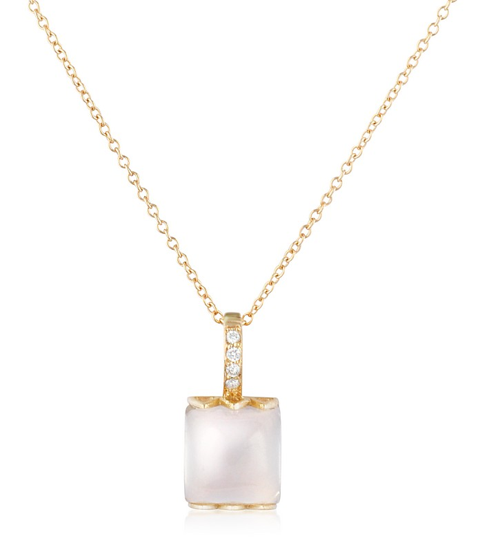 Rose Quartz and Diamond 18K Gold Charm Necklace - Mia & Beverly