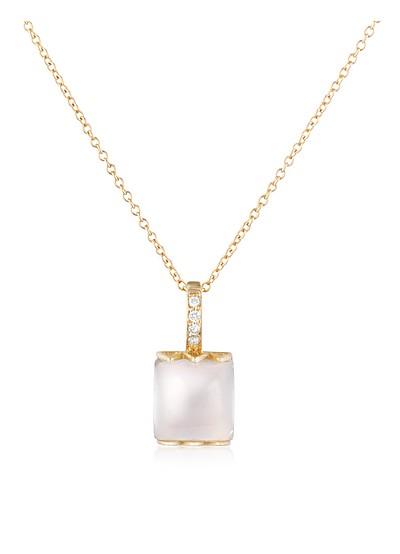 Collar de Oro 18K Cuarzo Rosa y Diamantes - Mia & Beverly