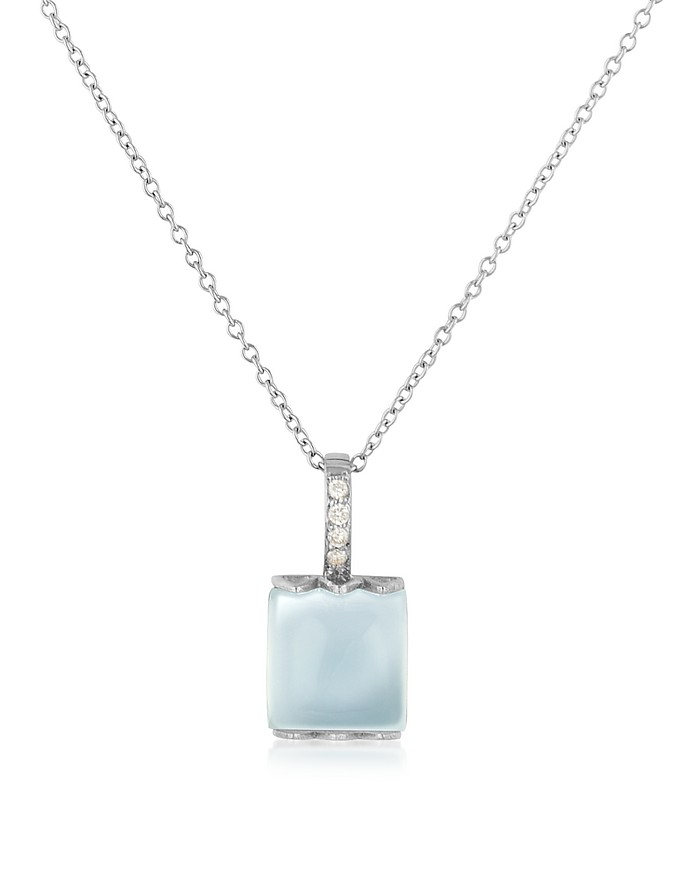 Chalcedony and Diamond 18K Gold Charm Necklace - Mia & Beverly