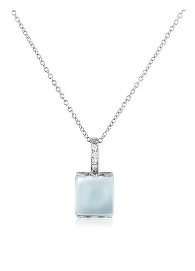 Collar de Oro Blanco de 18K, Calcedonia y Diamantes - Mia & Beverly