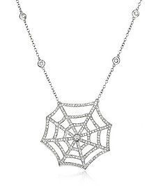 Collier Forme Toile d'Araignée en Or Blanc 18K et Diamants - Incanto Royale