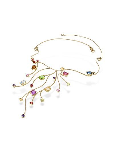 Halskette mit verschiedenen Edelsteinen in 18k Gelbgold - Forzieri