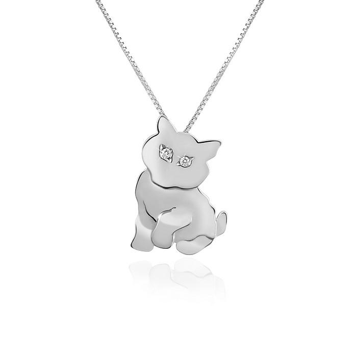 Diamond & 18K Gold Cat Pendant Necklace  - Forzieri