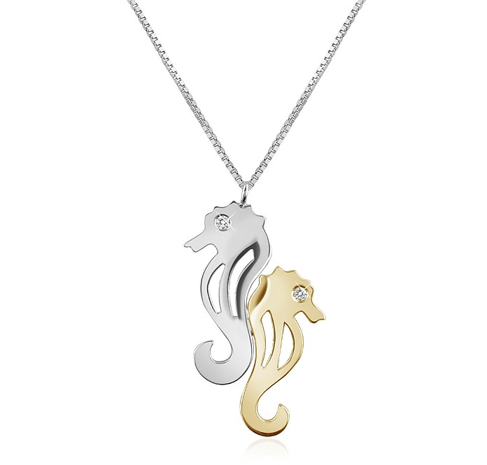 Diamond & 18K Gold Seahorses Pendant Necklace - Forzieri