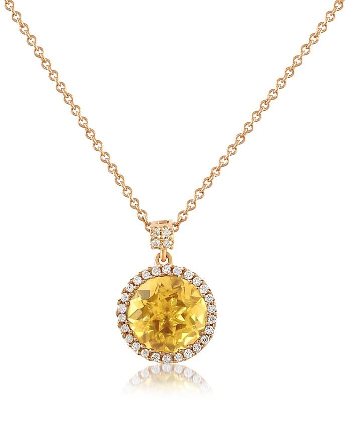 Medici - Citrine Quartz and Diamond 18K Rose Gold Pendant Necklace - Forzieri