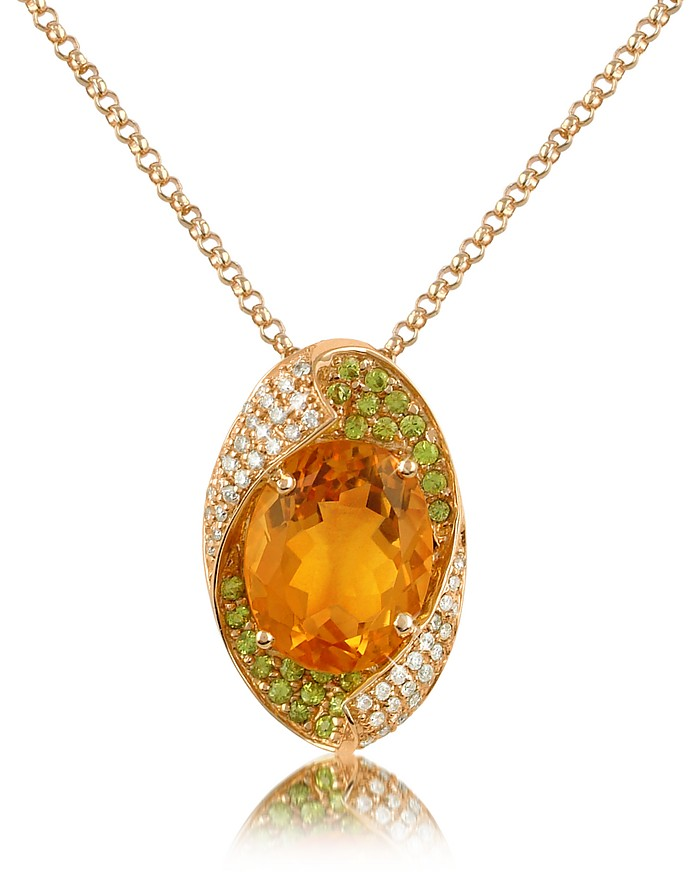 Medici - Citrine Quartz and Diamond Drop 18K Gold Necklace - Forzieri