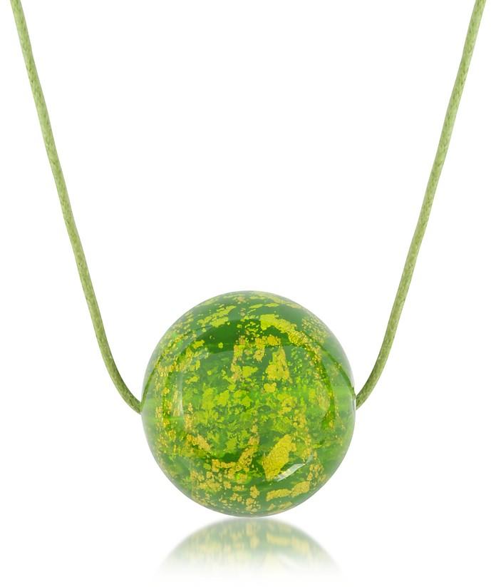Murano Glass Round Pendant w/Lace - Briciole d'Oro