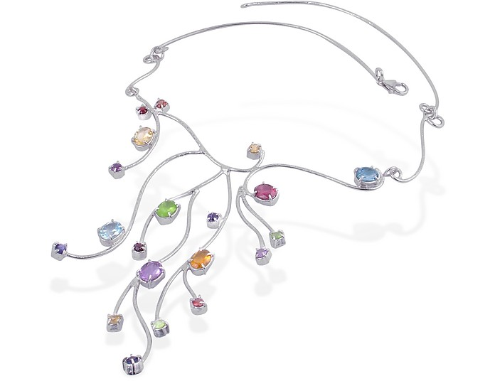 Forzieri Sterling Silver Multi-Gemstones Necklace at FORZIERI