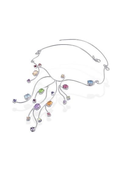 Halskette aus Sterlinsilber mit verschiedenen Edelsteinen - Forzieri