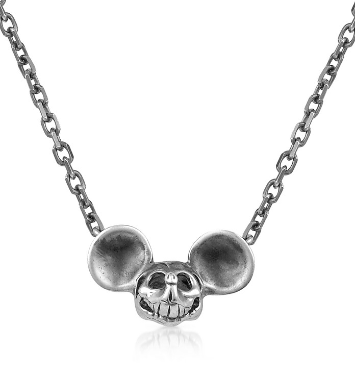 Gothic Sterling Silver Mickey Mouse Skull Necklace - Forzieri Chrome