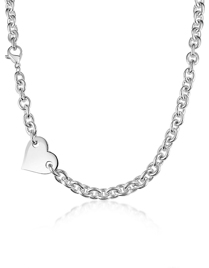 Sterling Silver Heart Chain Necklace - Forzieri