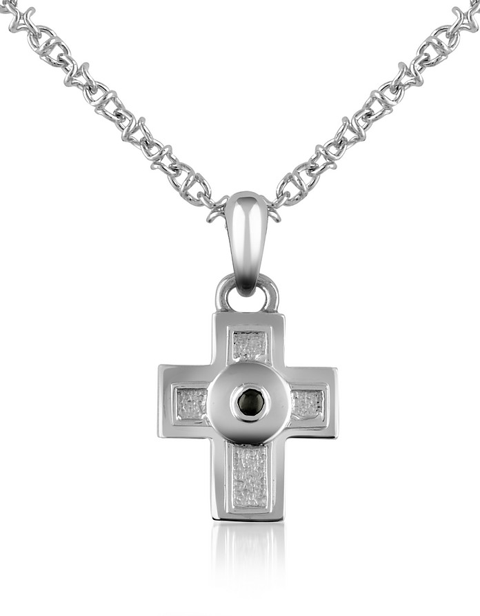 Central Black Sapphire Stainless Steel Cross Pendant Necklace - Forzieri