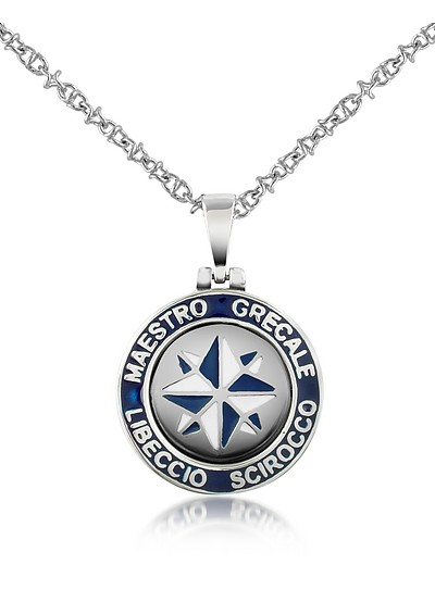Stainless Steel Wind Rose Pendant Necklace - Forzieri