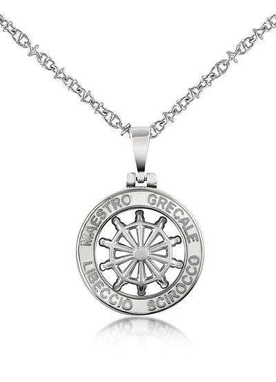 Stainless Steel Cutout Rudder Pendant Necklace - Forzieri