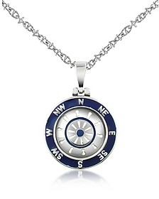 Stainless Steel Cardinal Points & Rudder Pendant Necklace - Forzieri