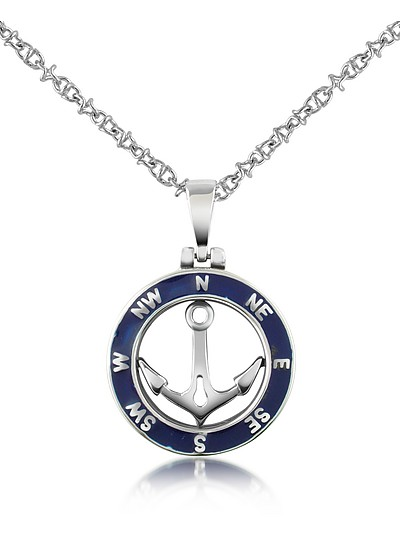 Stainless Steel Anchor Pendant Necklace - Forzieri
