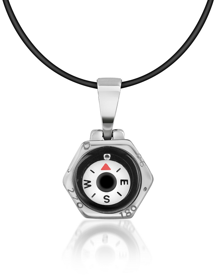 Stainless Steel Compass Pendant w/Rubber Necklace - Forzieri