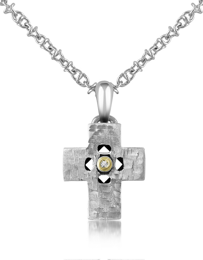 Diamond and Hammered Stainless Steel Cross Pendant Necklace - Forzieri