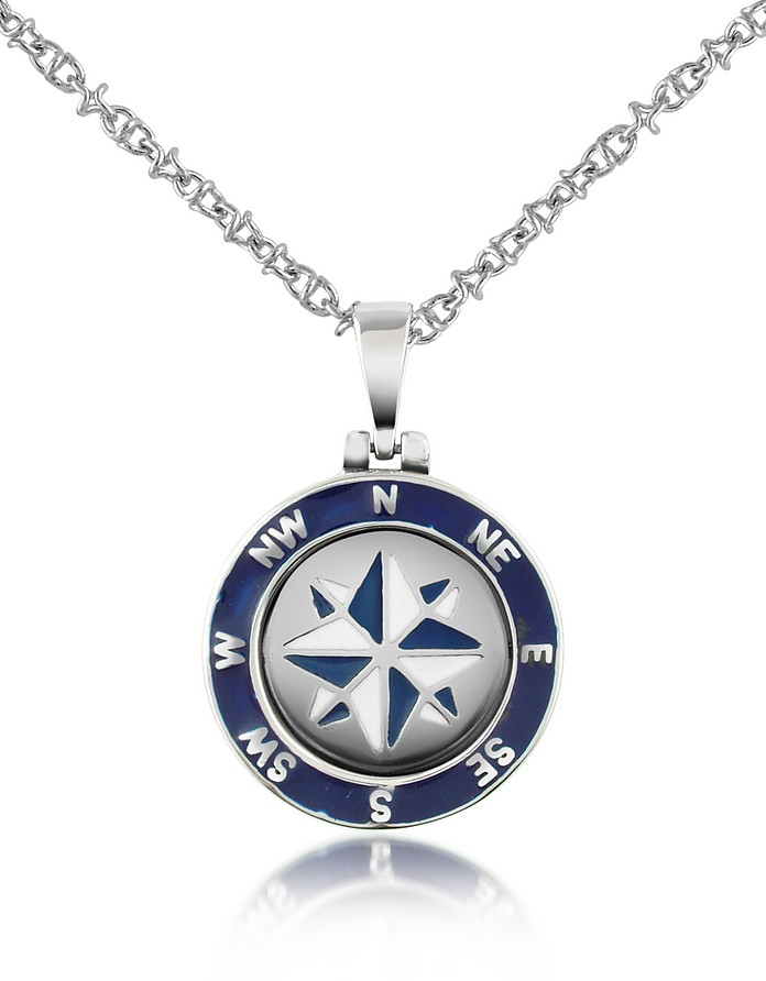 Stainless Steel Windrose Pendant Necklace - Forzieri