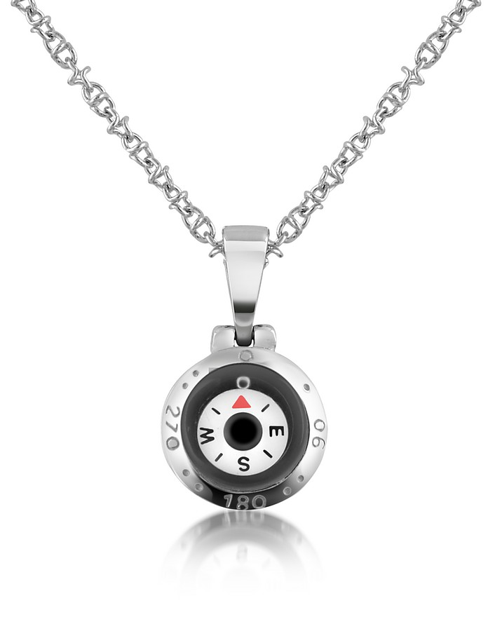 Stainless Steel Compass Pendant Necklace - Forzieri