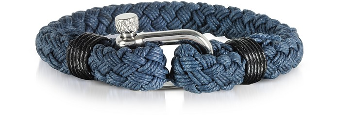 Navy Blue Woven Rope Men's Bracelet - Forzieri