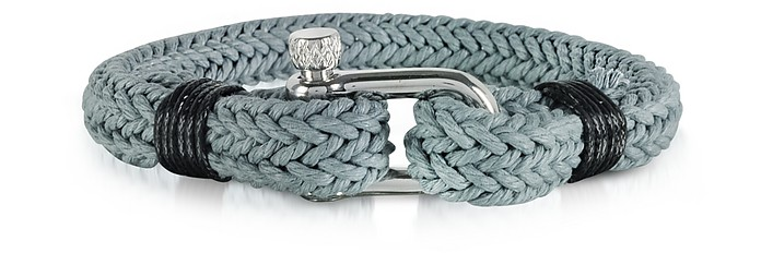 Ice Grey Woven Rope Men's Bracelet - Forzieri